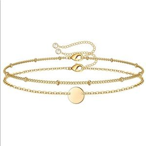 Bead Chain Stacked with Circle Disc Chain Bracelet